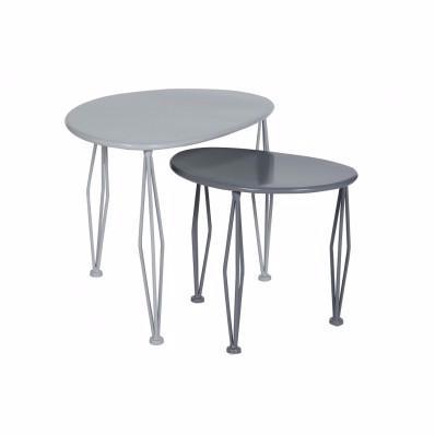 Miss cot d co lot 2 tables basses anthracite gris for Table jardin d ulysse