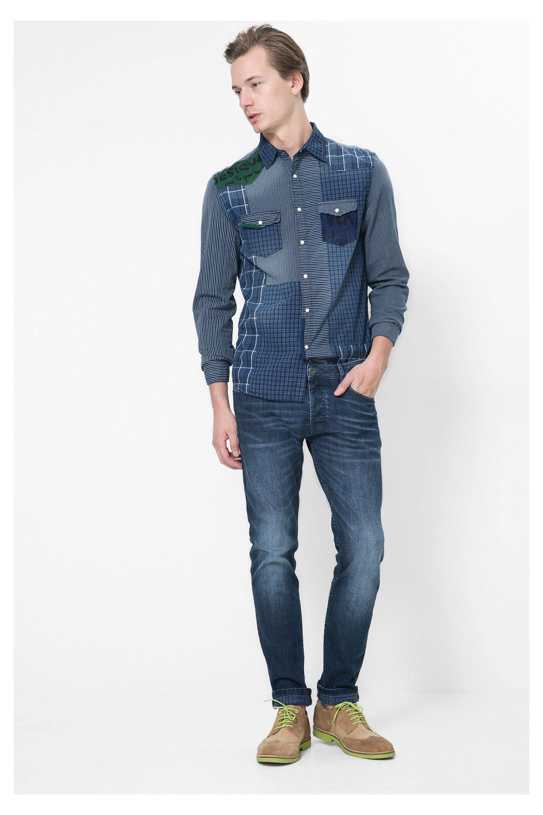 desigual jean bleu homme printed check misscotedeco. Black Bedroom Furniture Sets. Home Design Ideas